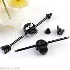 1pc Black 14G Arrow Cross Skull Long Industrial Ear Stud Earring Piercing Gothic