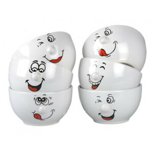 White Cereal Bowl 6-Piece Round Breakfast Cereal Oatmeal Bowls Smile Face 3D