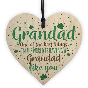 Grandad Gifts Christmas Birthday Card Hanging Wooden Heart Sign Xmas Grandparent