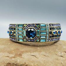 Heidi Daus Signed Blue Octagon & Baguette Crystal Brass Tone Wide Bangle Bracet