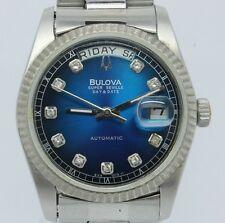 1980's Bulova Super Seville Automatic Mens Day Date Steel Watch Blue Sunburst