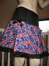 Union Jack flag skirt black white red blue Team GB frilly Retro punk Fancy dress