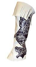 51cm Brown and White Leather Feel Half Leg Cowboy Chaps - Fancy Dress (MI71)