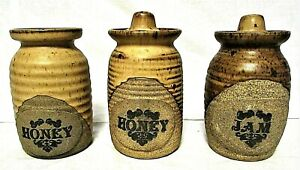 JBK Country Style 2 Honey and 1 Jam Jars Canadian Handmade Pottery Set of 3