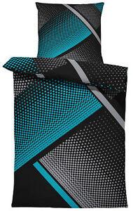 4 teilig Bettwäsche 135x200 cm Karo geometrisch grafisch petrol grau Mikrofaser