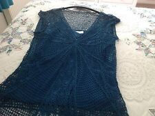 BHS Ladies Pretty Teal Lace Top Size UK 16
