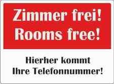 """wetterfestes Schild: """"Zimmer frei"""" 30x42cm"""