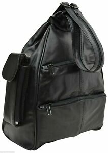 Large New Black Genuine Leather Zippered Backpack Style Purse Cross Body Bag