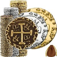 Pirate Coins -100 Gold, Silver, Bronze Metal Gold Coins, Fake Fantasy Coins,