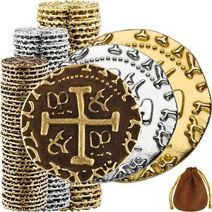 Pirate Coins -100 Gold, Silver, Bronze Metal Gold Coins, Fake Fantasy Coins,
