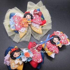 Princess Resin Snow White Hair Clip Series Blue & Red Set Girls Children Hair Ac
