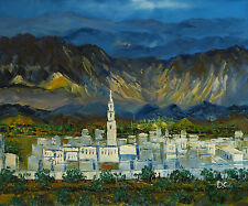 Gemälde - Bergdorf - handgemalt Leinwand Acryl Malerei modern Alpen Italien Dorf