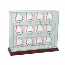 Glass Upright 12 Baseball Display Case Uv Protection Cherry Wood And Mirror