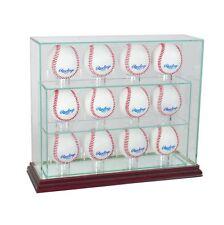 Vidro Vertical 12 Baseball Display Capa Proteção Uv E Madeira De Cerejeira Espelho