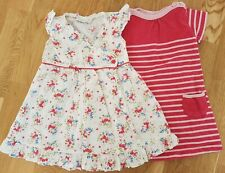 JoJo Maman Bebe 12-18 months baby girl dresses pink white floral summer rose x2