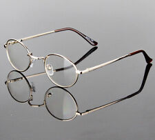 Mens Women Clear Lens Eye Glasses Retro Metal Oval Frame Fashion Optical Gold RX