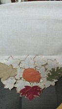 """""""Cut Work Fall Leaves On Shimmery Natural Background"""""""" - Table Runner"""