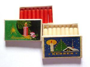 """2 Schachteln Miniatur """"WACHSKERZEN"""" weiß & rot ca.2cm"""