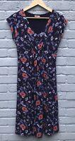 Joe Browns Size 12 Navy Floral Cap Sleeved Stretch Dress (Waist 38cm Across)