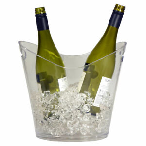 Plastic 2 Bottle Wine & Champagne Cooler / Ice Bucket (Clear)