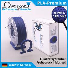 Ωmega Premium PLA Filament, 1.75mm, 1kg, Nachtblau ~ RAL 5022, mit Probedruck