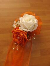 Damigelle Nozze Fiori Bouquet da Polso Arancione/Avorio Rose, Perle e Diamante