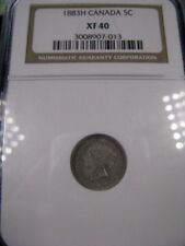 **1883H Obv.#5**,NGC Graded Canadian, Small Silver 5 Cent, **EF-40**