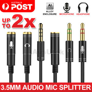 3.5mm AUX Cable Mic Audio Splitter Extension Headphone Adapter Male to Female