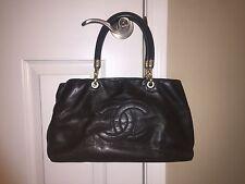 Authentic Medium Chanel Leather Tote Handbag- Black