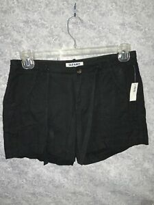 OLD NAVY Womens Black Linen Blend Shorts Size 4 NWT