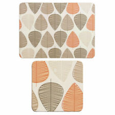Premier Housewares 8pc Orange Leaf Design Cork Dining Coaster and Placemat Set