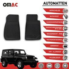 Vorne Fußmatten für Jeep Wrangler 2007-2017 3D Hoher Rand Gummimatten Schwarz