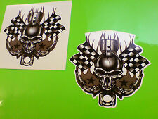 CHEQUERED FLAG SKULL & PISTON Hot Rod / Helmet Stickers Decals 2 off 75mm