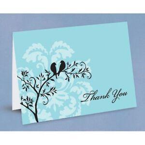 Perched Birds Aqua Bridal Shower Wedding Thank You Notes 50/pk