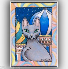 ACEO LTD ED. SOFIA RUSSIAN BLUE CAT PAINTING PRINT FROM ORIGINAL SUZANNE LE GOOD