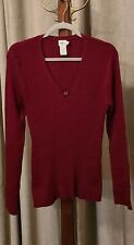 Women's Calvin Klein Jeans Burgundy Red Long Sleeve Ribbed Sweater Size XL