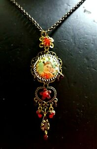Cute Michal Negrin Red Swarovski Crystals & Green Enamel Girl Face Pendant Gift