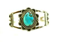 Fine Ladies Navajo Turquoise Cabochon Cuff Bracelet Sterling Silver