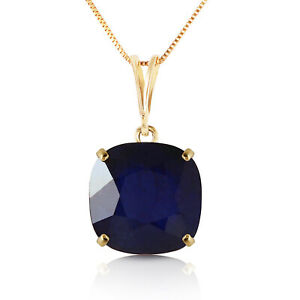 4.83 Ct 14k Solid Yellow Gold Necklace Cusion Shape Sapphire