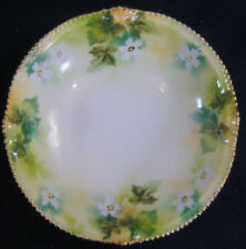 Set of 5 RS Prussia White Flowers & Green Leaves Dessert Bowls Circa 1904 - 1938