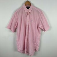 Ralph Lauren Mens Button Up Shirt Small Pink Plaid Short Sleeve Collared