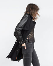ZARA TRENCH COAT WITH FAUX LEATHER SLEEVES BELTED COAT JACKET SİZE: L