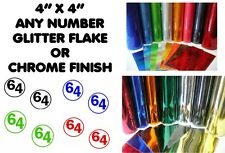"2x Body Panel Decals 4""x4"" Vinyl Number Sticker GLITTER OR CHROME Any number"