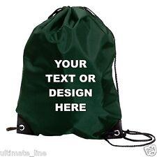 Personalised Dark Green Drawstring Bag Sack Gym PE Swim  School Print Waterproof
