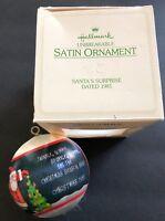 1981 HALLMARK Santa's Surprise Satin Ball Unbreakable Ornament with Box