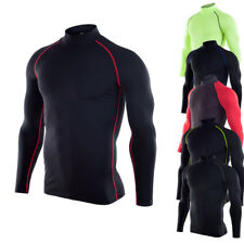 Men Athletic Mock Long Sleeve Base Layer Workout Training Cool Dry Top Tight fit