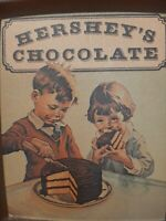 Hershey 1982 VINTAGE Tin Tray W/boy&girl Eating Chocolate Cake. Made in England