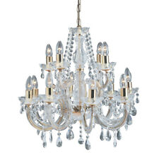 Searchlight Marie Therese 12 Lights Brass Traditional Chandelier Ceiling Light