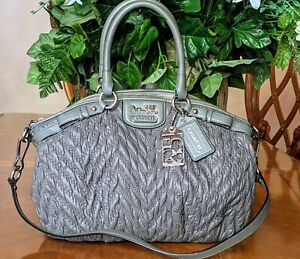 COACH MADISON QUILTED CHEVRON NYLON 70th ANNIVERSARY GRAY PURSE 18637