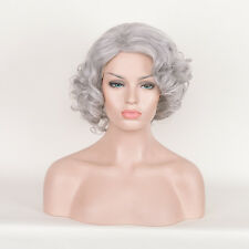 Silver Grey GRAY Women Cosplay Party Granny makeup short Curly Afro wigs Wig